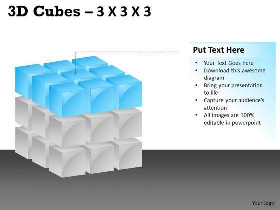 Business Finance Strategy Development 3d Cubes 3x3x3 Marketing Diagram