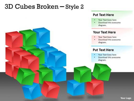 Business Finance Strategy Development 3d Cubes Broken Style Marketing Diagram
