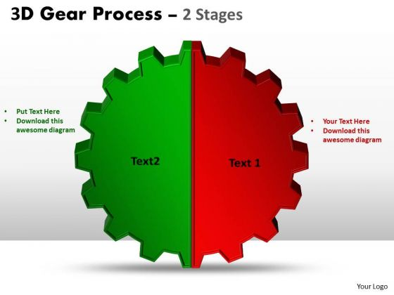 Business Finance Strategy Development 3d Gear Process 2 Stages Sales Diagram