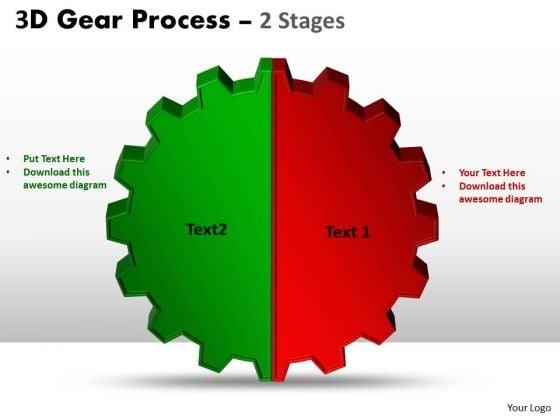 Business Finance Strategy Development 3d Gear Process 2 Stages Sales Diagram
