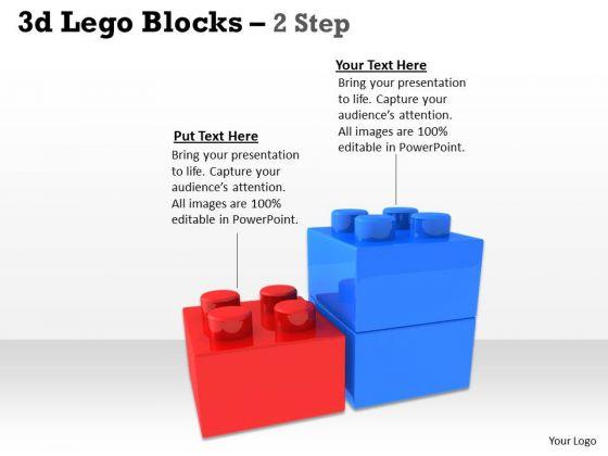 Business Finance Strategy Development 3d Lego Blocks 2 Step Sales Diagram