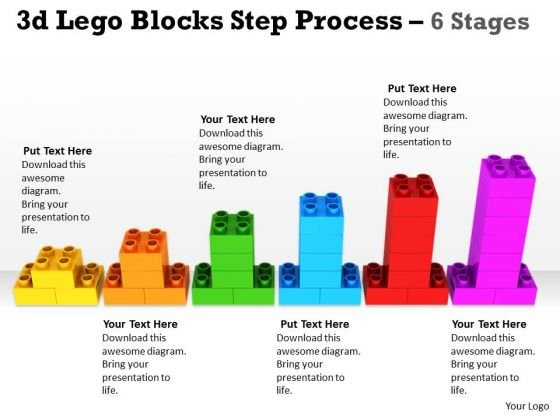 Business Finance Strategy Development 3d Lego Blocks Step Process 6 Stages Business Diagram