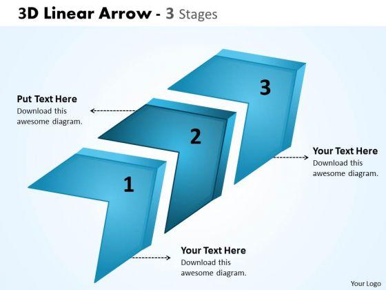 Business Finance Strategy Development 3d Linear Arrow 3 Stages Business Diagram