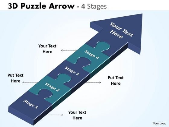 Business Finance Strategy Development 3d Puzzle Arrow 4 Stages Sales Diagram