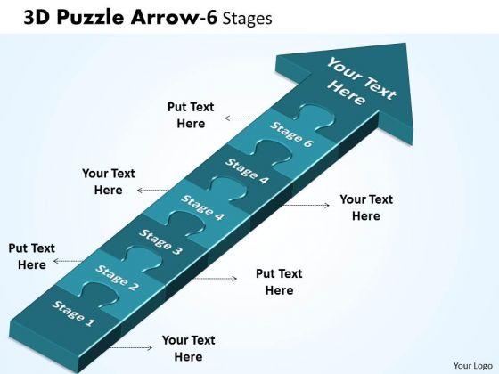 Business Finance Strategy Development 3d Puzzle Arrow 6 Stages Sales Diagram