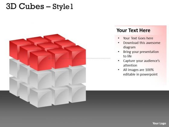 Business Finance Strategy Development 3d Red Cubes Style 1 Ppt Sales Diagram