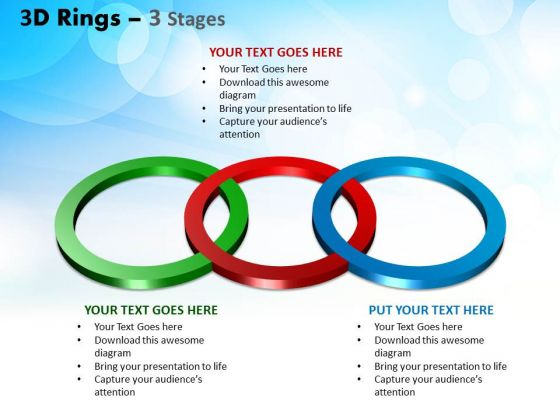 Business Finance Strategy Development 3d Rings 3 Stages Sales Diagram