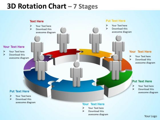 Business Finance Strategy Development 3d Rotation Chart 7 Stages Business Diagram
