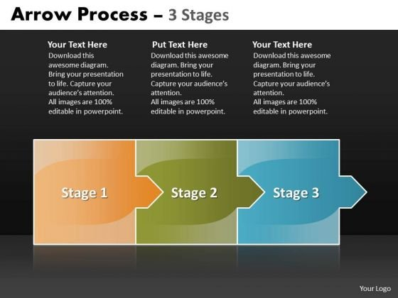 Business Finance Strategy Development Arrow Process 3 Stages Business Cycle Diagram
