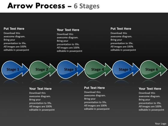 Business Finance Strategy Development Arrow Process 6 Stages 3 Sales Diagram