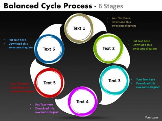Business Finance Strategy Development Balanced Cycle Flow Process Sales Diagram