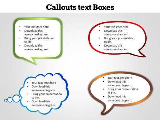 Business Finance Strategy Development Callouts Text Boxes Sales Diagram