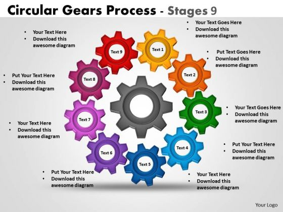 Business Finance Strategy Development Circular Gears Process Stages 9 Consulting Diagram