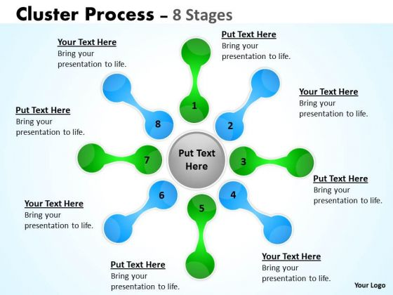 Business Finance Strategy Development Cluster Process Flow 8 Stages Sales Diagram