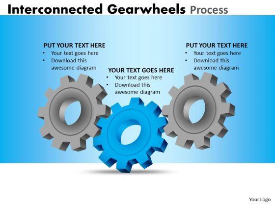 Business Finance Strategy Development Interconnected Gearwheels Process Sales Diagram