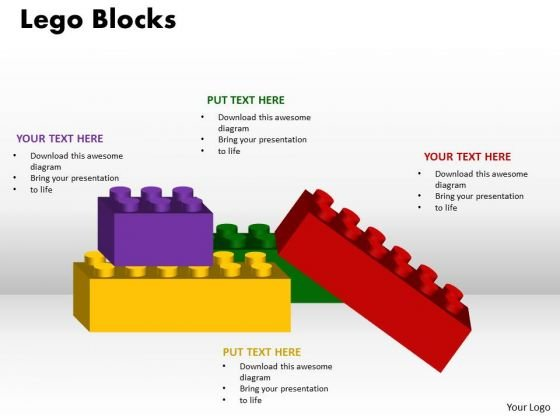 Business Finance Strategy Development Lego Blocks 4 Business Diagram