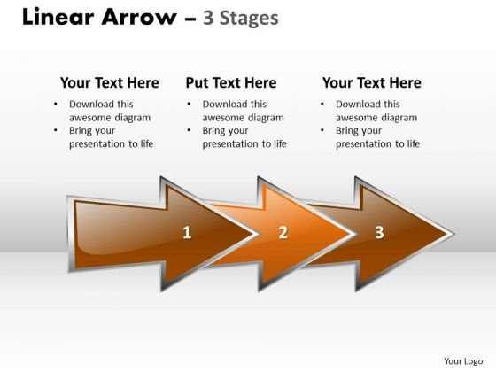 Business Finance Strategy Development Linear Arrow 3 Stages Business Cycle Diagram
