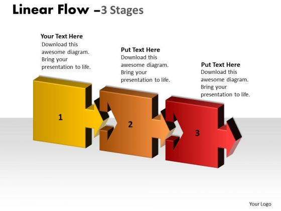 Business Finance Strategy Development Linear Flow 3 Stages Consulting Diagram