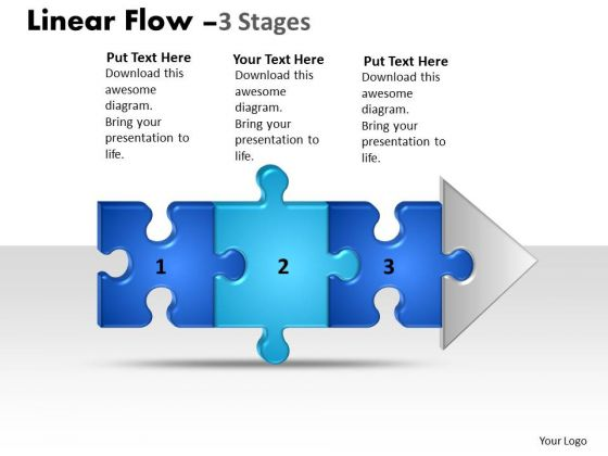 Business Finance Strategy Development Linear Flow 3 Stages Style Business Cycle Diagram