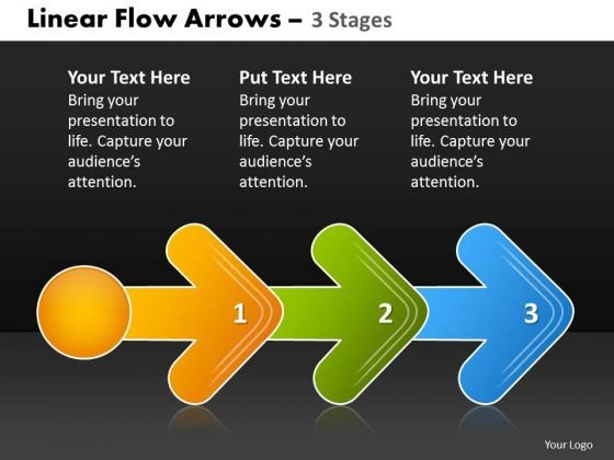 Business Finance Strategy Development Linear Flow Arrow 3 Stages Consulting Diagram