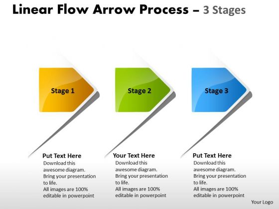 Business Finance Strategy Development Linear Flow Arrow Process 3 Stages Marketing Diagram