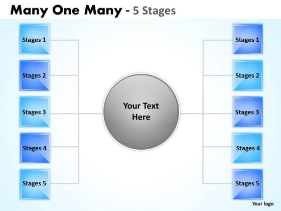 Business Finance Strategy Development Many One Many 5 Step Business Diagram