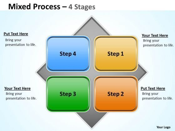 Business Finance Strategy Development Mixed Diagram With 4 Stages For Sales Strategy Diagram