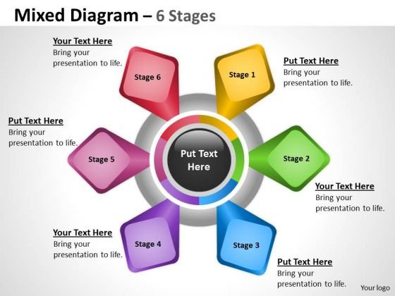 Business Finance Strategy Development Mixed Diagram With 6 Stages Sales Diagram