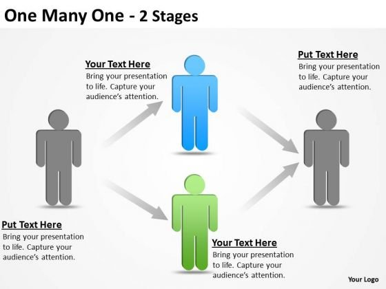 Business Finance Strategy Development One Many One 2 Stages Sales Diagram