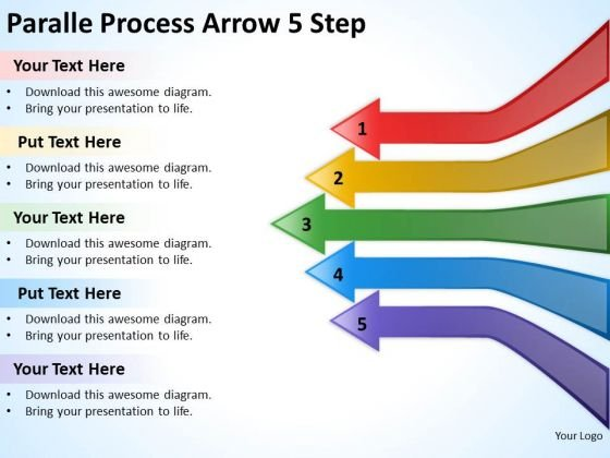 Business Finance Strategy Development Paralle Process Arrow 5 Step Sales Diagram