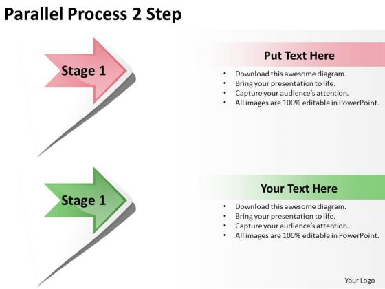 Business Finance Strategy Development Parallel Process 2 Step Sales Diagram