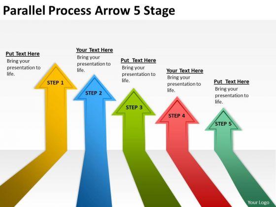 Business Finance Strategy Development Parallel Process Arrow 5 Stage Sales Diagram