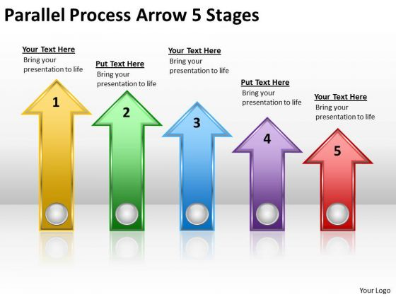 Business Finance Strategy Development Parallel Process Arrow 5 Stages Consulting Diagram