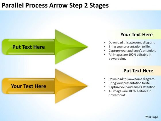 Business Finance Strategy Development Parallel Process Arrow Step 2 Stages Business Diagram