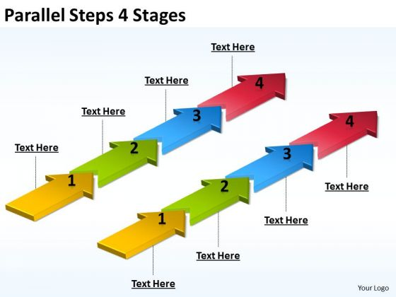 Business Finance Strategy Development Parallel Steps 4 Stages Business Diagram