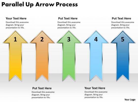 Business Finance Strategy Development Parallel Up Arrow Process Strategy Diagram