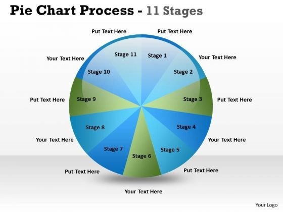 Business Finance Strategy Development Pie Chart Process 11 Stages Sales Diagram