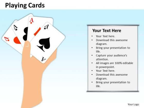 Business Finance Strategy Development Playing Cards Sales Diagram