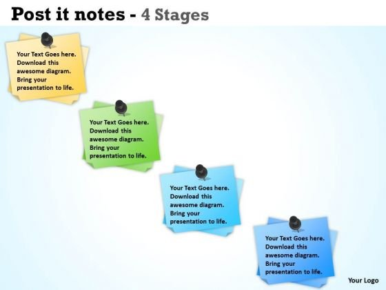Business Finance Strategy Development Post It Notes 4 Stages Sales Diagram