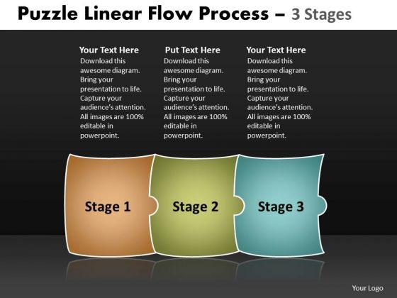 Business Finance Strategy Development Puzzle Linear Flow Process 3 Stages Marketing Diagram