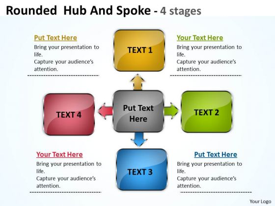 Business Finance Strategy Development Rounded Hub And Spoke 4 Stages Marketing Diagram
