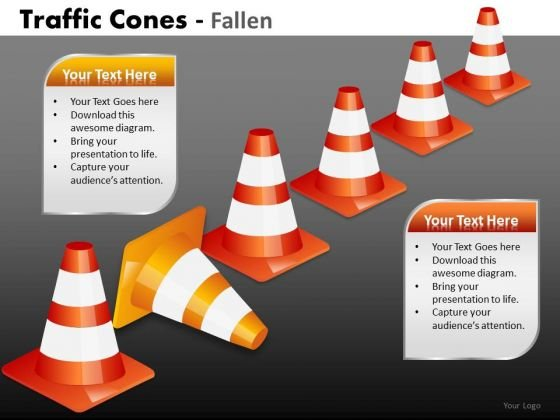 Business Finance Strategy Development Traffic Cones Fallen Business Diagram