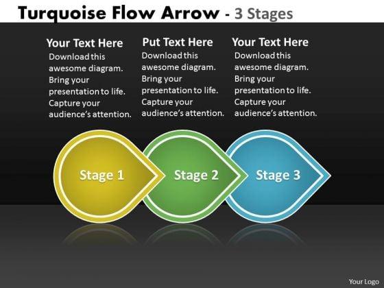 Business Finance Strategy Development Turquoise Flow Arrow 3 Stages Marketing Diagram