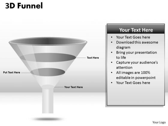 Business Framework Model 3 Staged 3d Funnel Diagram Strategy Diagram