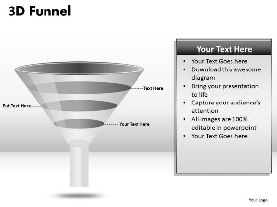 Business Framework Model 3 Staged Funnel Diagram Sales Diagram