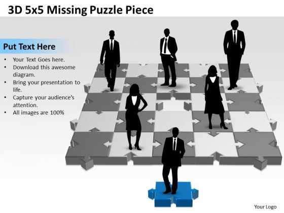 Business Framework Model 3d 5x5 Missing Puzzle Piece Marketing Diagram