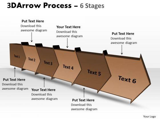 Business Framework Model 3d Arrow Process 6 Stages Business Diagram