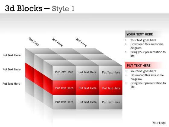 Business Framework Model 3d Blocks Style Strategy Diagram