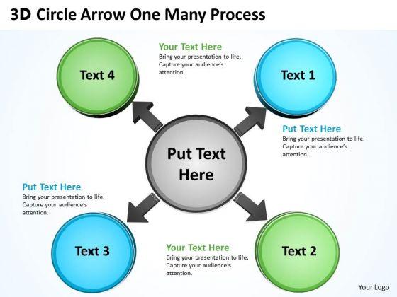 Business Framework Model 3d Circle Arrow One Many Process Strategy Diagram