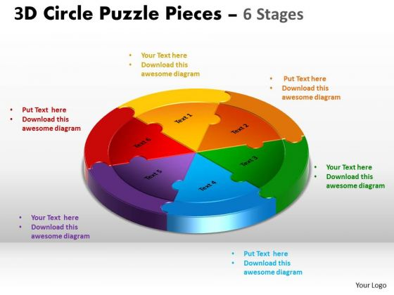 Business Framework Model 3d Circle Puzzle Diagram 6 Stages Sales Diagram